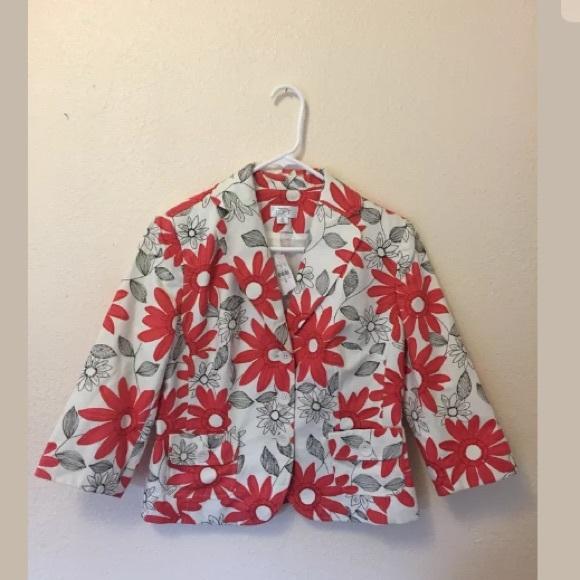 LOFT Jackets & Blazers - NEW Ann Taylor LOFT white floral orange blazer 8